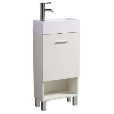 16 in. W x 30 in. H Vanity in Classic White with Resin Vanity Top in White