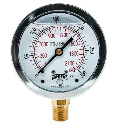 PFQ-LF 2.5 in. Lead-Free Brass Stainless Steel Liquid Filled Pressure Gauge with 1/4 in. NPT BTM and 0-300 psi/kPa