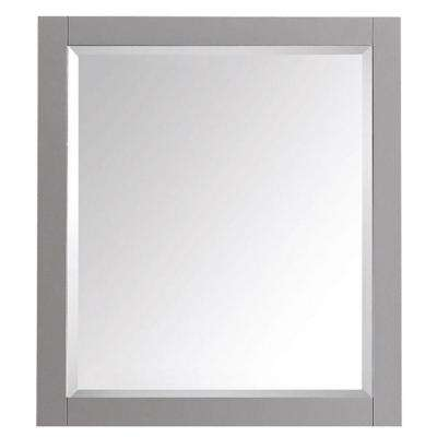 Transitional 32 in. L x 28 in. W Framed Wall Mirror in Chilled Gray