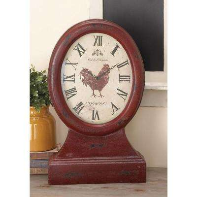 24 in. x 14 in. Distressed Red Wooden Oval Table Clock