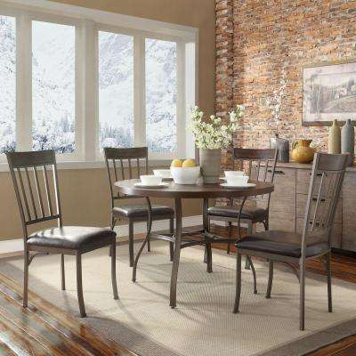 Evans 5-Piece Bronzed Pewter Mixed Media Dining Set