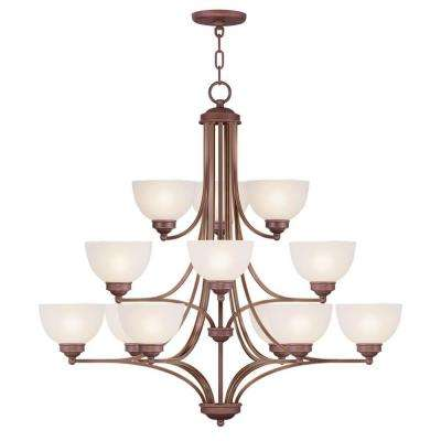 6-Light Vintage Bronze Chandelier with Satin Glass Shade