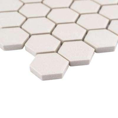 Gotham Hex Antique White 10-1/4 in. x 11-3/4 in. x 5 mm Porcelain Unglazed Mosaic Tile (8.56 sq. ft. / case)