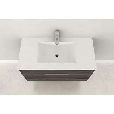 Textures Collection 36 in. W x 18 in. D x 19 in. H Vanity in Driftwood with Acrylic Vanity Top in White with White Basin