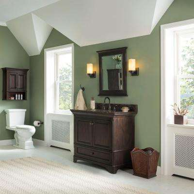 Moorpark 37 in. Vanity in Burnished Walnut with Granite Vanity Top in Brown