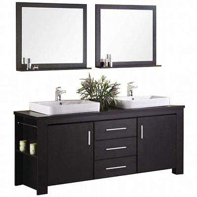 Washington 72 in. W x 22 in. D Vanity in Espresso with Wood Vanity Top and Mirror in Espresso