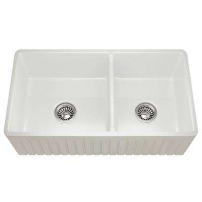 Farmhouse Apron Front Fireclay 33 in. 60/40 Double Bowl Kitchen Sink