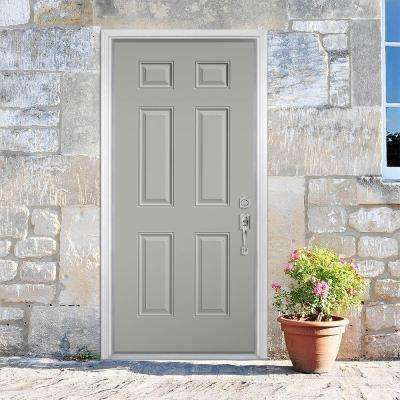 6-Panel Painted Smooth Fiberglass Prehung Front Door with Brickmold