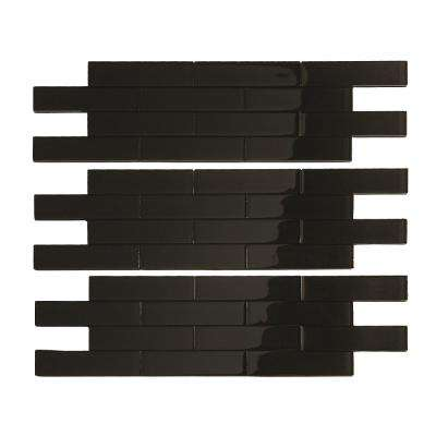 Subway Matted 12 in. x 4 in. Glass Decorative Tile Backsplash in Ebony (3-Pack)