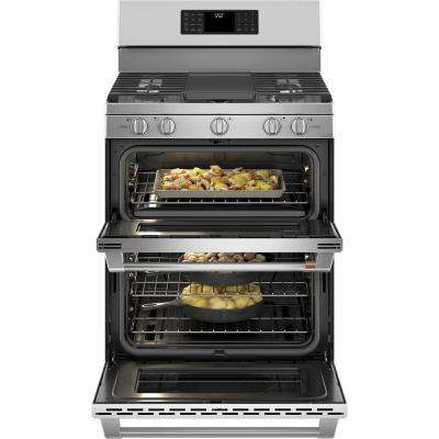30 in. 7.0  cu. ft. Smart Double Oven Gas Range with Steam-Cleaning Convection Oven in Stainless Steel
