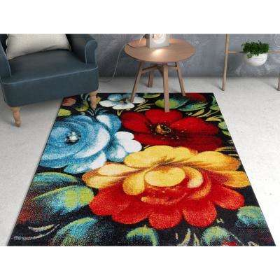 Viva Congratulations Multi Color Modern Floral 7 ft. 10 in. x 9 ft. 10 in. Area Rug