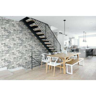 Grey Weathered Brick Peel and Stick Wallpaper 30.75 sq. ft.