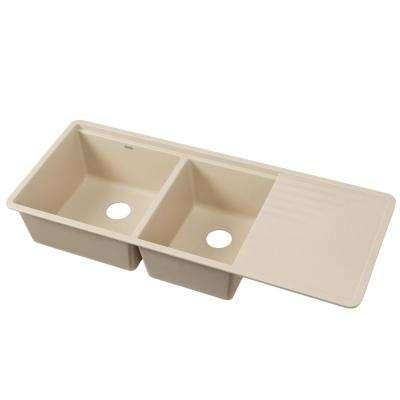 PRECIS Undermount Granite Composite 48 in. 60/40 Double Bowl Kitchen Sink with Drainer in Biscotti