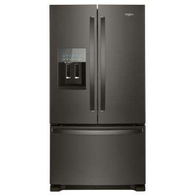 36 in. W 25 cu. ft. French Door Refrigerator in Black Stainless