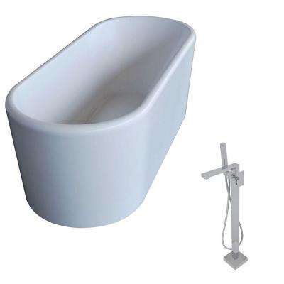 Century 5.6 ft. Acrylic Classic Freestanding Flatbottom Non-Whirlpool Bathtub in White and Dawn Faucet in Chrome