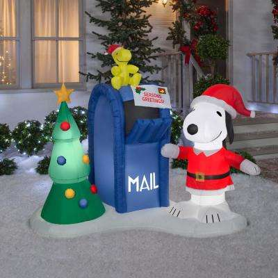 5.6 ft. Pre-lit Inflatable Airblown Snoopy and Woodstock with Mailbox Scene