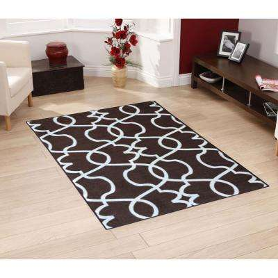 Rose Collection Contemporary Geometric Trellis Design Brown 5 ft. x 7 ft. Non-Skid Area Rug