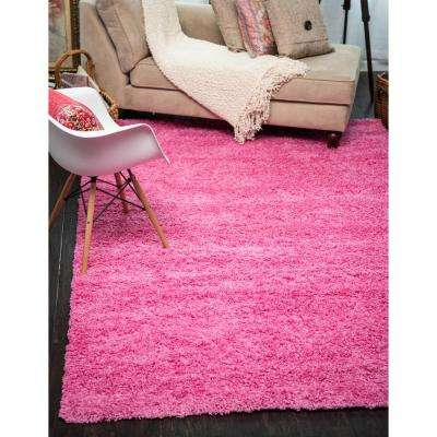 Solid Shag Taffy Pink 6 ft. x 9 ft. Area Rug