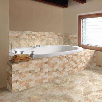 Grand Cayman Oyster Blend 12 in. x 12 in. x 8mm Ceramic Brick Joint Mosaic Tile (10 sq. ft. / Case)