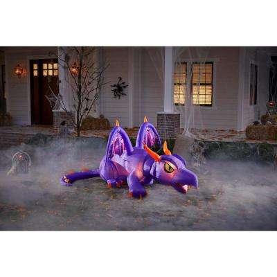 4.27 ft. Fuzzy Purple Dragon Animated Halloween Inflatable