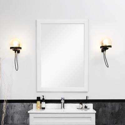 24 in. W x 36 in. H Framed Wall Mirror Bathroom Mirror in Dove Grey (Set of 1)