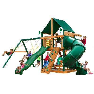 Mountaineer with Timber Shield and Sunbrella Canvas Forest Green Canopy Cedar Playset