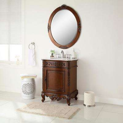 Winslow 26 in. W x 22 in. D Vanity in Antique Cherry with Marble Vanity Top in White with White Sink