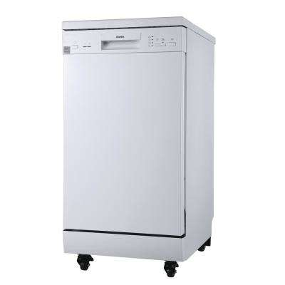 18 in. Wide Portable Dishwasher in White with 8-Place Settings Capacity