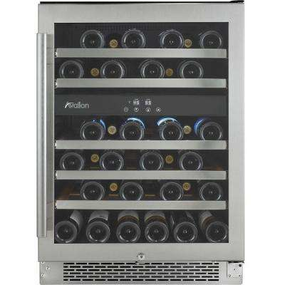 46-Bottle Dual Temperature Zone Built-In Wine Cooler with Argon Filled Double Paned Glass