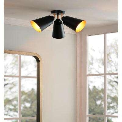 Alvar 3-Light Matte Black Flush Mount light