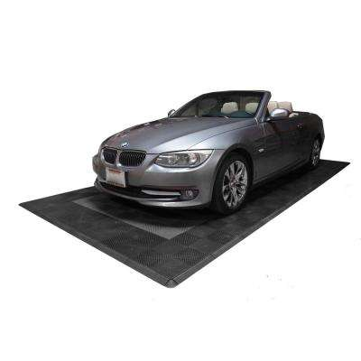 8.3 ft. x 17.5 ft. Grey with Black Border Ribtrax Smooth Eco Flooring, Single Car Pad Kit