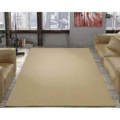 Jardin Collection Solid Beige 5 ft. x 7 ft. Indoor/Outdoor Area Rug