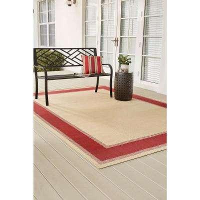 Border Tan Red 5 ft. x 7 ft. Indoor/Outdoor Area Rug