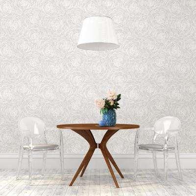 Celestial Grey Floral Wallpaper Sample