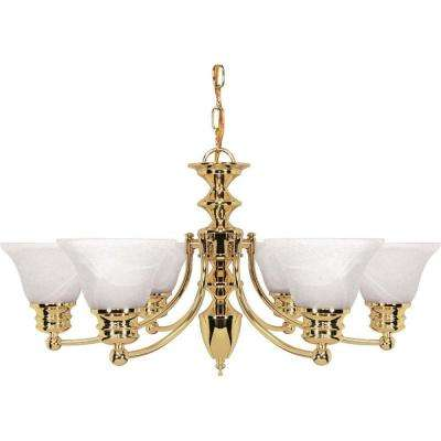 Nuwa 6-Light Polished Brass Chandelier with Alabaster Glass