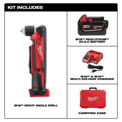 M18 18-Volt Lithium-Ion Cordless 3/8 in. Right Angle Drill Kit W/(1) 3.0Ah Batteries, Charger, Hard Case