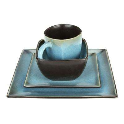 Haus Earthtone Square 16-Piece Dinnerware Set in Blue
