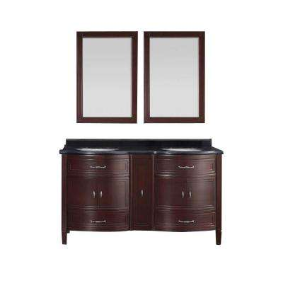 Bella 60 in. Vanity in Tobacco with Granite Vanity Top in Black