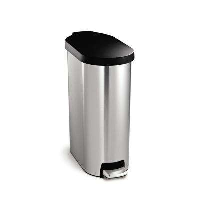 45 Liter Slim Step Brushed Stainless Steel Trash Can