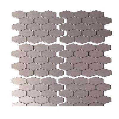 Wide Hex 6 in. x 4 in. Matted Metal Decorative Backsplash Tile in Stainless