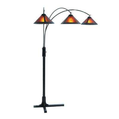 Mica 80 in. Dark Wood Arc Lamp with 3 Lights