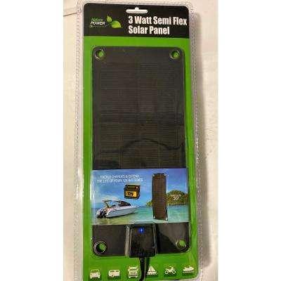 3-Watt Semi-Flex Monocrystalline Solar Panel and Battery Trickle Charger