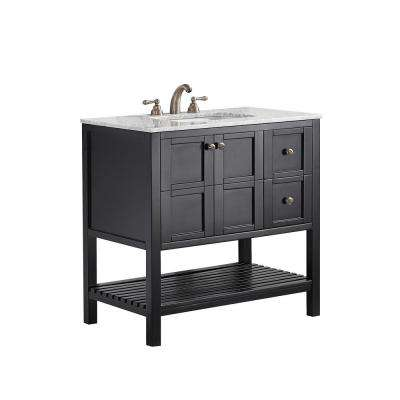 Florence 36 in. W x 22 in. D x 35 in. H Vanity in Espresso with Marble Vanity Top in White with Basin