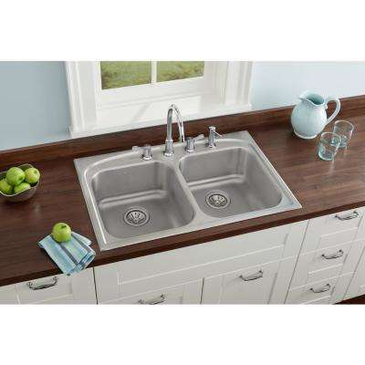 Pergola Drop-In Stainless Steel 33 in. 4-Hole Double Bowl Kitchen Sink