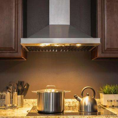 30 in. Convertible Kitchen Wall Mount Range Hood in Stainless Steel with Halogen Lights, Knob Control