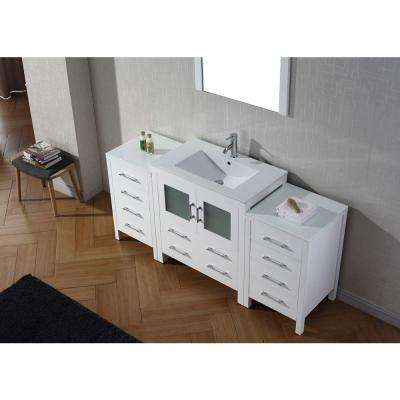 Dior 68 in. W Bath Vanity in White with Ceramic Vanity Top in Slim White Ceramic with Square Basin and Mirror and Faucet