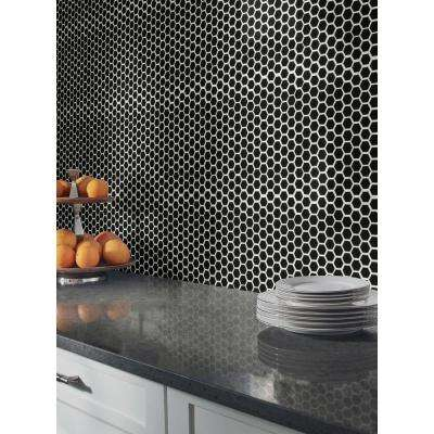 Retro Nero Hexagon 10.35 in. x 11.93 in. x 6mm Glossy Porcelain Mesh-Mounted Mosaic Tile (0.86 sq. ft.)