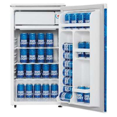 3.2 cu. ft. Mini Refrigerator in White with Bud Light Branded Door