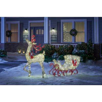 Misty Glimmer 5 ft. Gold Reindeer with 44 in. Sleigh