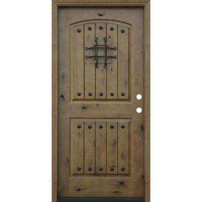 Rustic Arched 2-Panel V-Groove Stained Knotty Alder Wood Prehung Front Door with 6 in. Wall Series